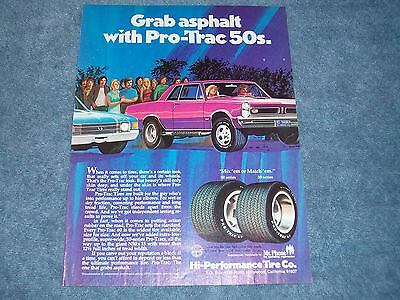"""1973 Pro-Trac 50's Tires Vintage Ad """"Grab Asphalt with Pro-Trac 50's"""" GTO"""