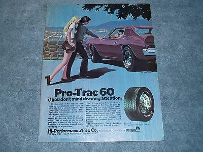 """1972 Pro-Trac 60's Tires Vintage Ad """"If You Don't Mind Drawing Attention"""" AMX"""