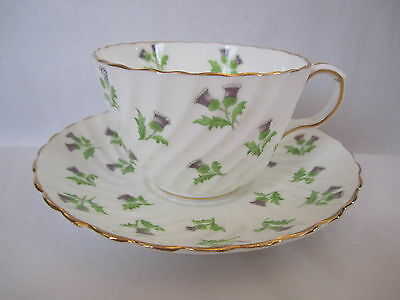 VINTAGE AYNSLEY ENG CHINA TEA CUP&SAUCER TWIRL PATTERN WHITE PURPLE THISTLE
