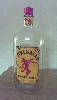 FIREBALL CINNAMON WHISKY 1ltr Empty Bottle w/ Red Cap, Collectors Crafts Barware
