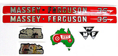 Tractor Bonnet Decal Sticker Set for Massey Ferguson MF35 35 FE35