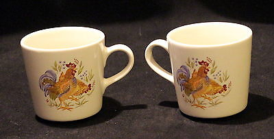 Set of 2 Corelle Cordinates Country Morning Rooster Mugs Hen Chicken
