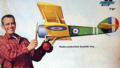 """Vintage SOPWITH PUP 48"""" RC Scale Model Airplane PLANS + Construction Article"""