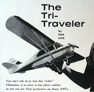 """Vintage TRI-TRAVELER Scale FF or RC 32"""" Model Airplane PLANS + Building Article"""