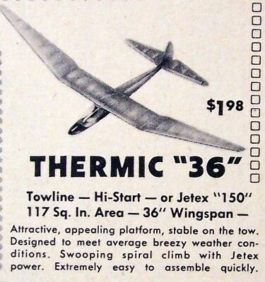 Vintage THERMIC 36 Towline Glider FF or Jetex Model Airplane PLAN + Article