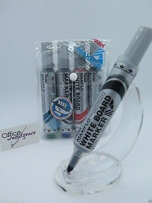 Pentel MIXED Maxiflow Bullet Point Whiteboard Marker 4.0mm 4/Pack MWL5-4