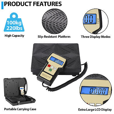 US SHIP Portable Digital Electronic Refrigerant Charging Scale HVAC 220LB AGG