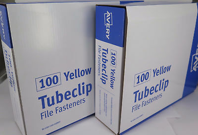 2 x Avery Yellow Tubeclip® File Fastener Set 100/Box 44009Y