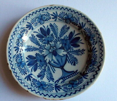 Dutch 17th/ 18th century blue and white  delft wear plate cracked
