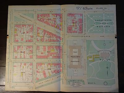 1892 Map of NW DC- White House Area - Rare large property specific detail.