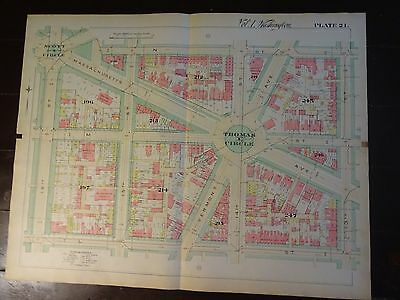 1892 Map of NW DC- Thomas Circle Area - Rare large property specific detail.