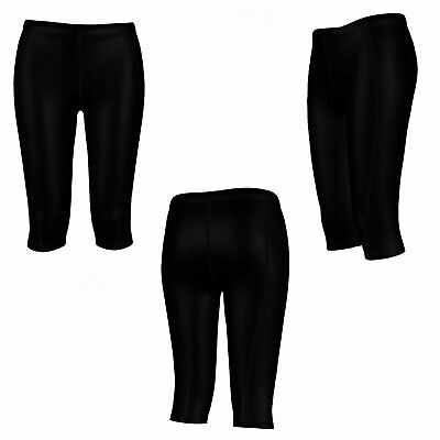 Ladies Womens Black 3/4 Compression Leggings Gym Pants Running Skins Legging