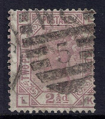 1877 GB SG141 QV 2½d ROSY MAUVE PLATE 7 USED LETTERS 'LK'