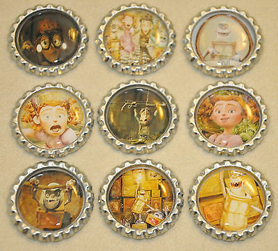 """SET OF 9 """"BOXTROLLS"""" inspired  Flat BOTTLECAPS for hairbows & scrapbooking!"""