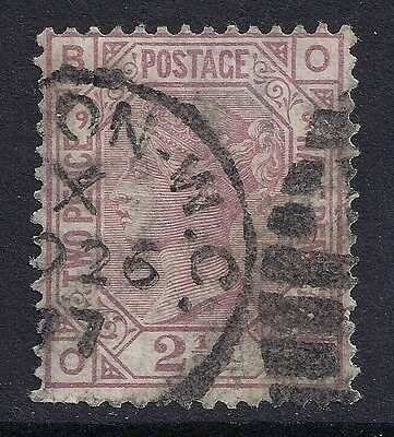 1877 GB SG141 QV 2½d ROSY MAUVE PLATE 9 USED LETTERS 'OB'