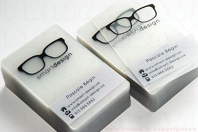 Transparent business cards with personalizing or not. Up to 600.