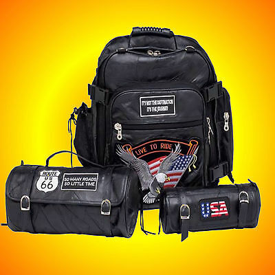 3 Pc Leather Motorcycle Sissy Bag Set with Patches!!--Well Designed Bags FIT ALL