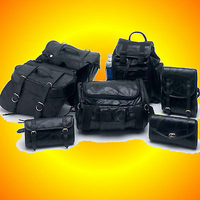 9 piece Leather Motorcycle Biker Bag Luggage-Fits Most Bikes-FREE S&H in US