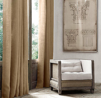 "63"" L x 60"" W JUTE BURLAP DRAPE PANEL QTY 1 PREMIUM BURLAP DRAPES & CURTAINS"