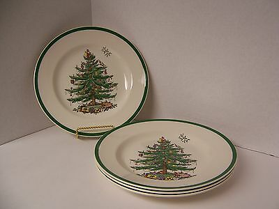 """Spode """"Christmas Tree"""" 4 Dinner Plates (10 5/8"""") Made in England Green Trim NWT"""