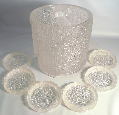 Vintage Ice Bucket & Coaster Set Clear Lucite Textured Cracked Ice Retro 60's