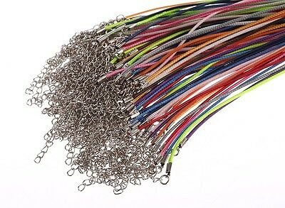 100pcs Mixed Strong Max Necklace Cords String Rope 1mm Lobster Alloy Clasp 18""