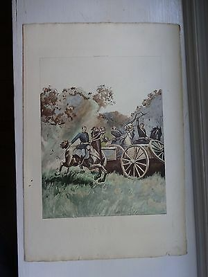 Beautiful Antique Print - CAPTAIN AND TROOPERS, 1861 - (c)1891 by G.B