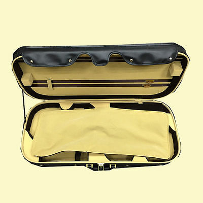 High Grade Pro. Leather Cover Double 4/4 Violin Case -Adjustable 000908732# BL