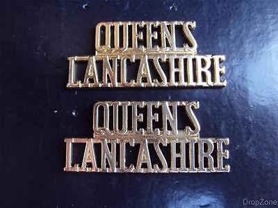 Pair of British Military Army Queens Lancashire Staybrite Shoulder Titles