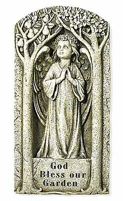 God Bless Our Garden Angel Wall Plaque Stone resin NEW SKU VG039
