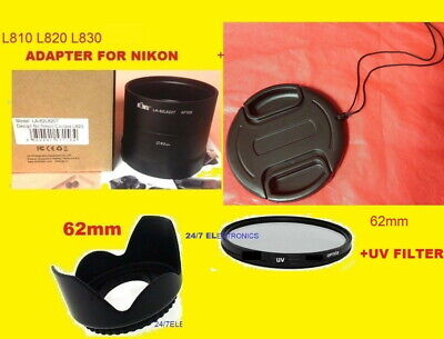 ADAPTER+HOOD+UV FILTER+LENS CAP 62mm 4: CAMERA NIKON COOLPIX L810 L820 L830 L840