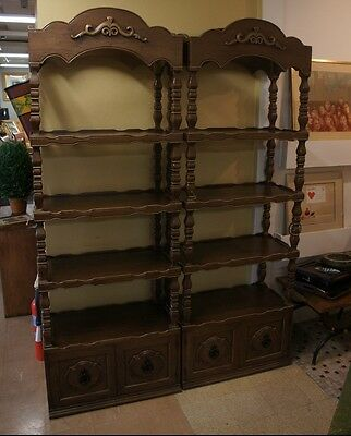 2 Distressed Mahogany Traditional Library Etageres Bookshelf Case Mid Century