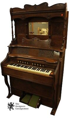 Antique Oak Reed Pump Organ Mirrored with Tool Carved Wood Original Knobs Pulls
