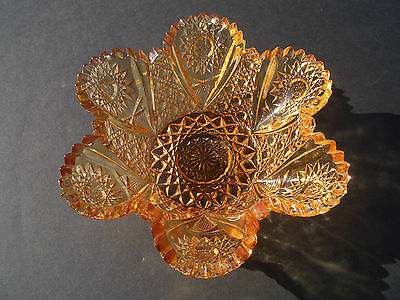 "WESTMORELAND GLASS: ""SUNFLOWER"" AMBER NUT DISH WITH SCALLOPED & SAWTOOTH EDGE"