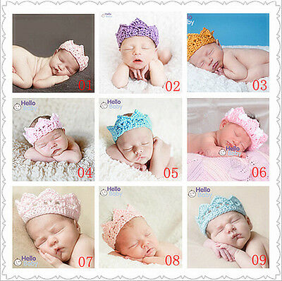 HA Newborn Baby Girl Boy Crochet Knit Prince Crown Headband Hat Hair Accessories