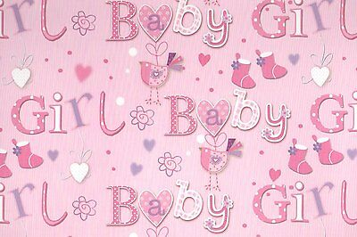 2 Sheets Gift Wrapping Paper NEW BABY GIRL Pink Congratulations Simon Elvin