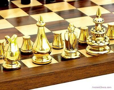 COURIER CHESS SET SOLID BRASS WITH INLAID 8 X 12 BOARD - MEDIEVAL GAME (508)