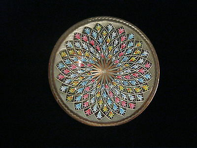 """Vintage Copper Backed Hand Decorative Plate  Wall Art   7 1/2"""" DIAMETER"""