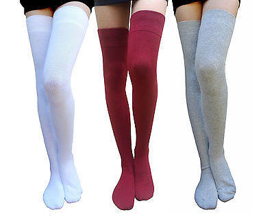 7911813e837 AM LANDEN® COTTON Ladies Thigh-High Socks US Size 2-8 Great Quality ...
