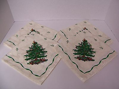 """Spode Christmas Tree Set of 4 Cloth Napkins (19""""x19"""") New Without Tags Holly"""