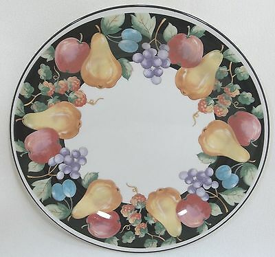 "SANGO Dinner Plate FANCIFUL FRUIT 90  - 10-5/8"" White With Fruit 3968"