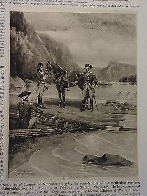 "Great B/W Print - ""DEFENCES OF THE HUDSON, 1776""  Published in 1890 by G.B."