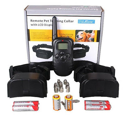 NEW Pet Training System Shock Collar LCD Display Remote Control for 2 Dogs 300m