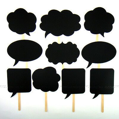 10PCS Speech Chalk Board Photo Booth Props Photography Wedding Party Christmas