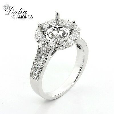 Diamond Halo Engagement Ring Setting with total of 1.50 cts 18K White Gold