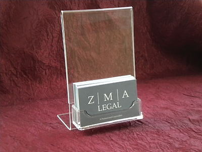 "4"" x 6"" Acrylic Sign Display with Business Card Holder"