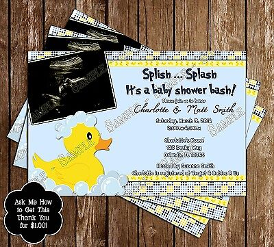 Rubber Duck Baby Shower Invitations - 15 Printed W/envelopes