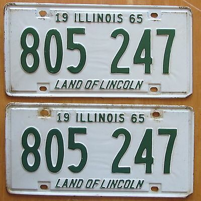 Illinois 1965 License Plate PAIR # 805 247