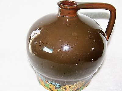 Vintage Brown Glazed Pottery Musical Jug Painted Characters on Bottom Base
