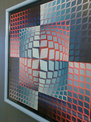 """Amazing Victor Vasarely Geometric Abstract Serigraph """"Quasarset"""" Framed"""